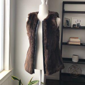 Faux Fur Vest with Leather Trim